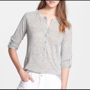 Vince Nubby Linen And Silk Henley Gray XS